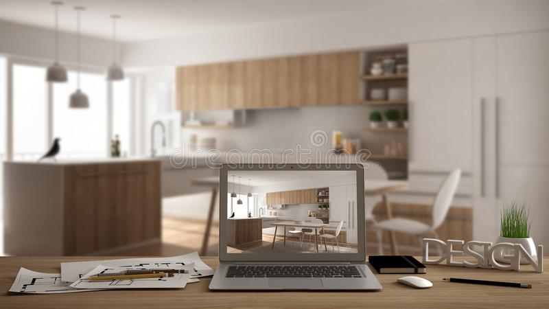 Architect designer desktop concept, laptop on wooden work desk with screen showing interior design project, blurred draft in the b. Ackground, modern kitchen royalty free stock photo
