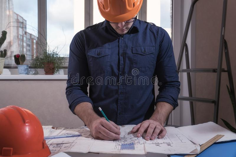 Elegant Download Architect Or Designer In The Process Of Work Stock Photo   Image  Of Blueprint,