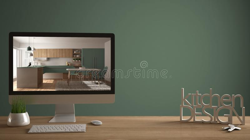 Architect designer project concept, wooden table with house keys, 3D letters making the words kitchen design, computer showing int. Erior draft, green pantone stock photography