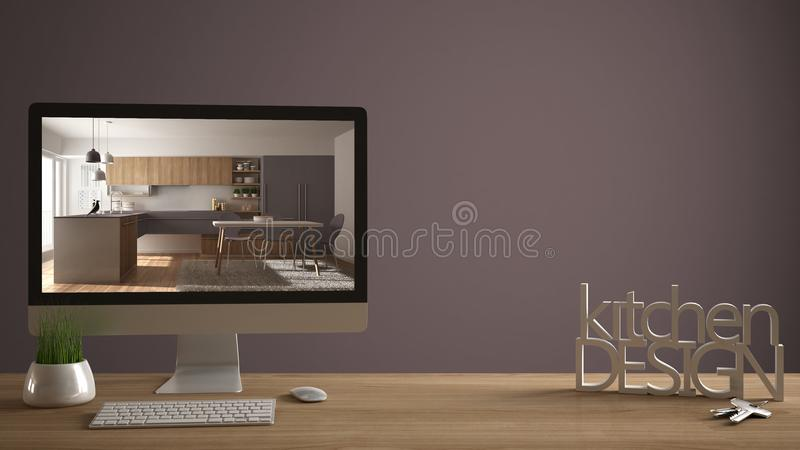 Architect designer project concept, wooden table with house keys, 3D letters making the words kitchen design, computer showing int. Erior draft, violet pantone stock images
