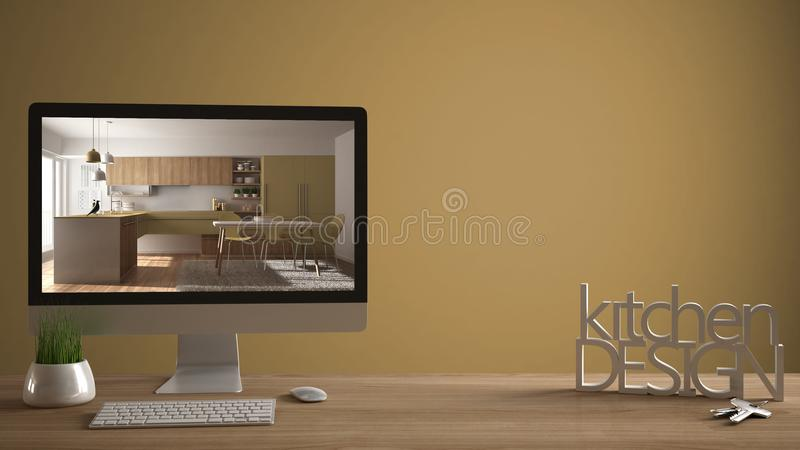 Architect designer project concept, wooden table with house keys, 3D letters making the words kitchen design, computer showing int. Erior draft, yellow pantone royalty free stock photo