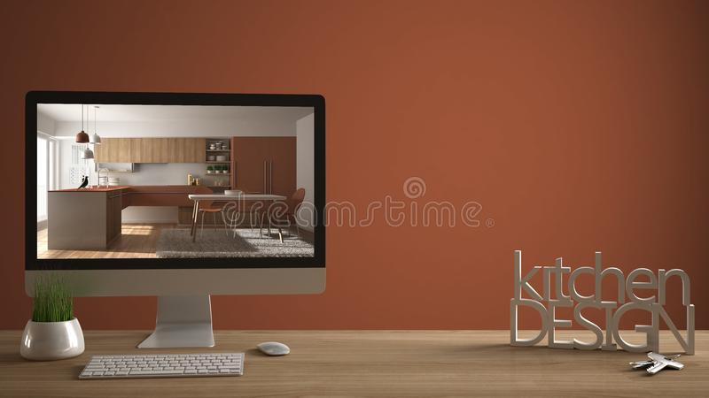 Architect designer project concept, wooden table with house keys, 3D letters making the words kitchen design, computer showing int. Erior draft, red orange stock photos