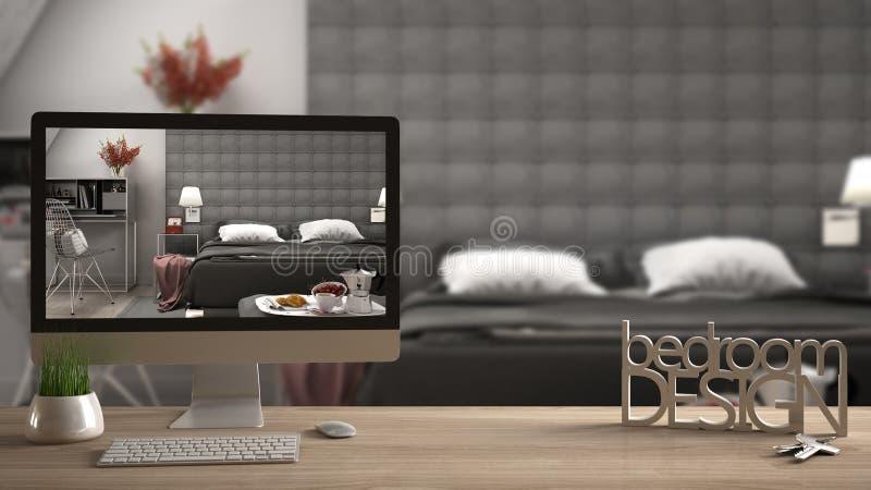 Architect designer project concept, wooden table with keys, 3D letters making the words bedroom design and desktop showing bedroom vector illustration