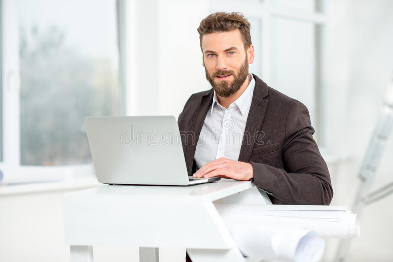 Download Architect Or Designer Working With Laptop Stock Image   Image Of  Businessman, Male: