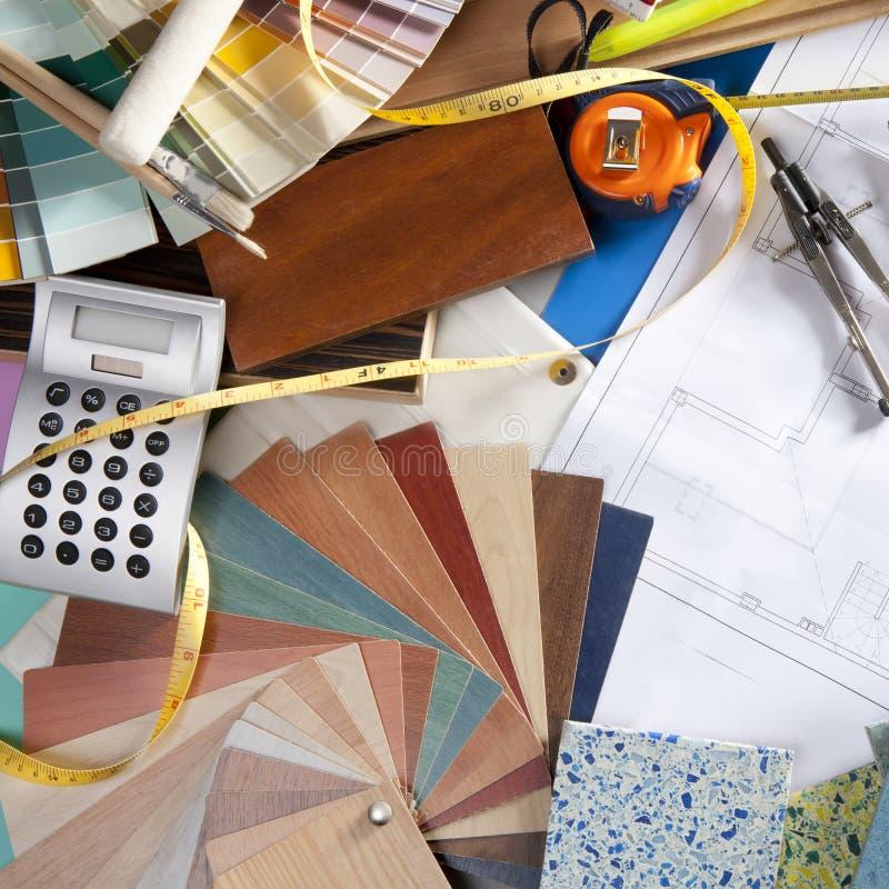 Architect Desk Interior Designer Workplace Royalty Free Stock Images