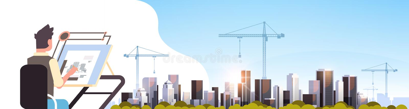 Architect drawing blueprint urban building plan on adjustable board over city construction site tower cranes residential. Buildings cityscape sunset skyline royalty free illustration