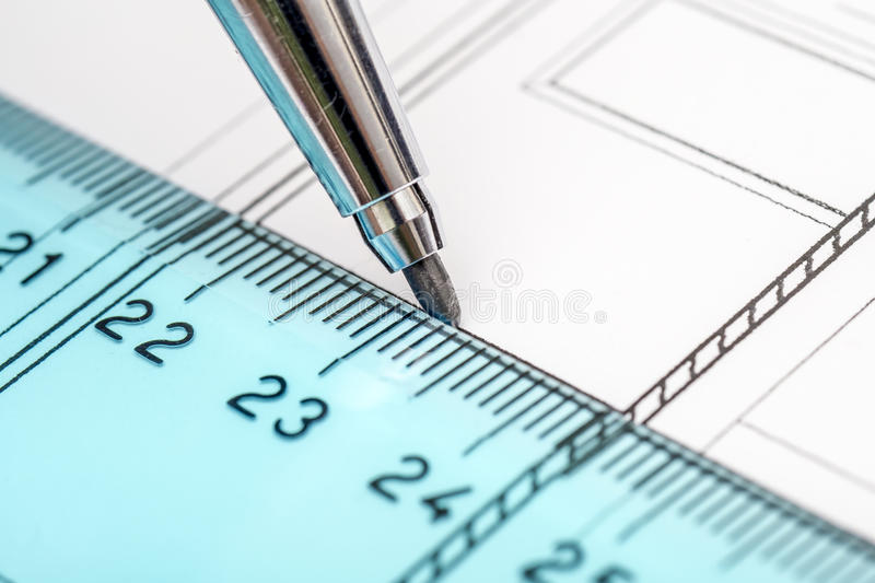 Architect Drawing Plans stock photos