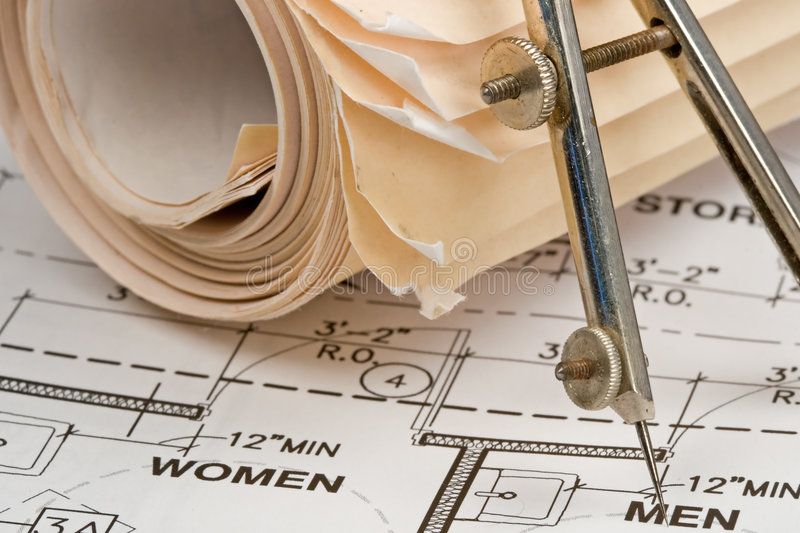 Architect Drawings stock image