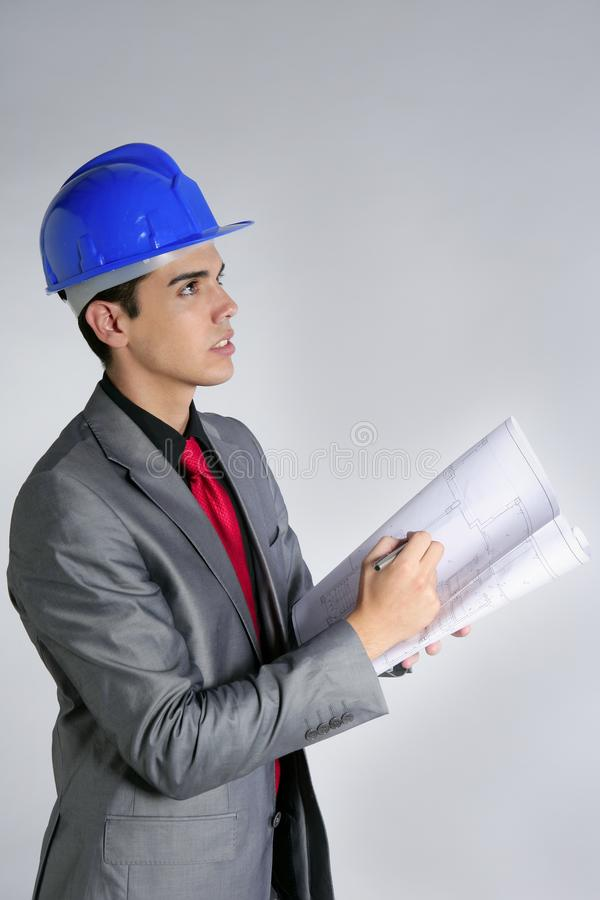 Download Architect Engineer With Blue Hardhat Stock Photo - Image: 10360090