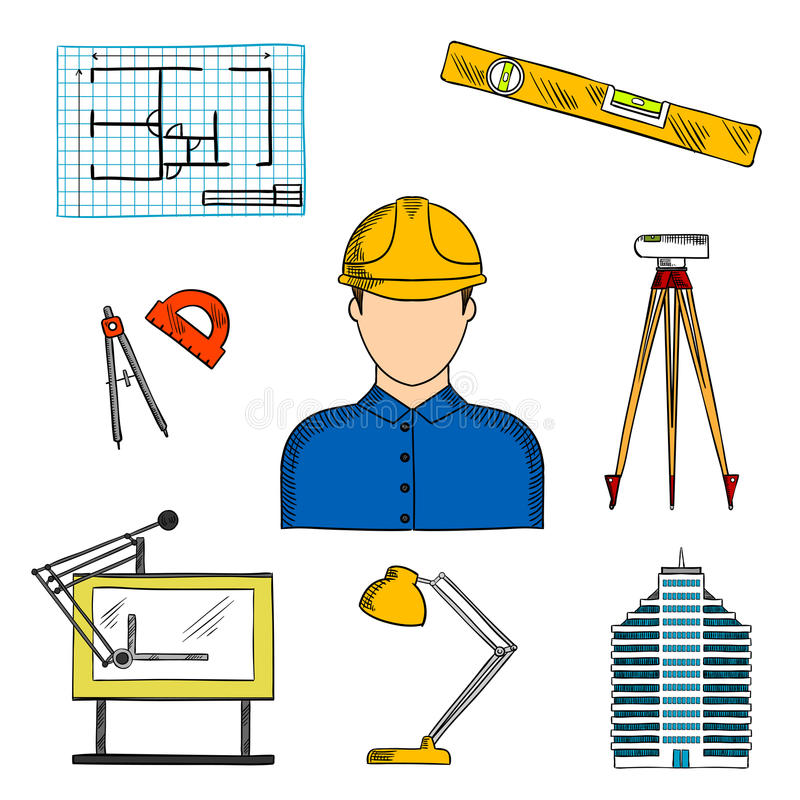 Architect or engineer with construction symbols vector illustration