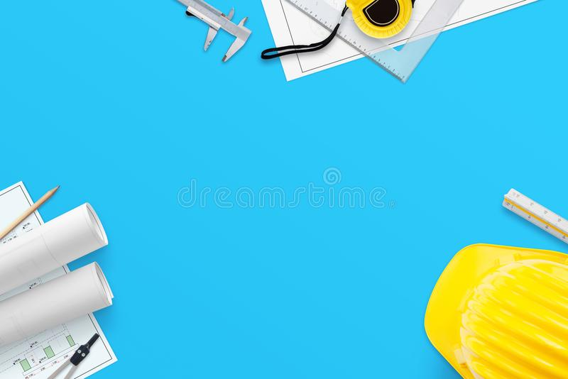 Architect, engineer tools on blue work desk with free space in the middle for text. vector illustration