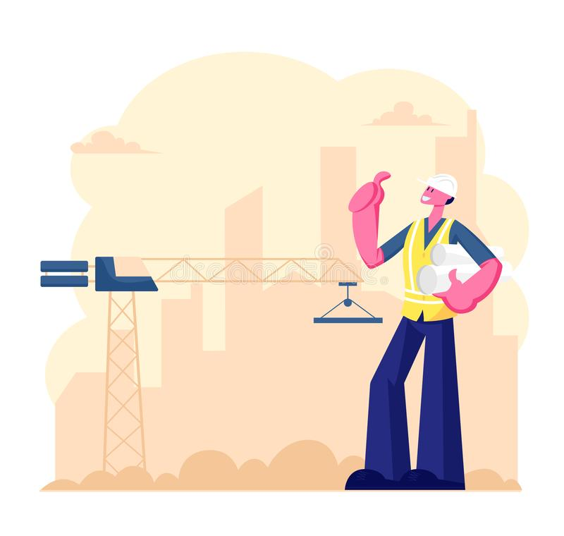 Architect or Engineer Worker Wearing Helmet Holding Project Blueprint Stand at Building Site with Working Crane. Builder vector illustration