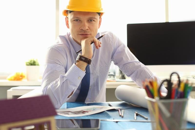 Architect or Engineer Working on Building Plan stock photos