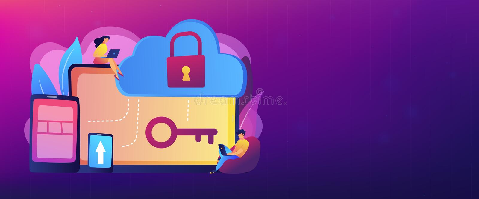 Cloud computing security concept banner header. royalty free illustration