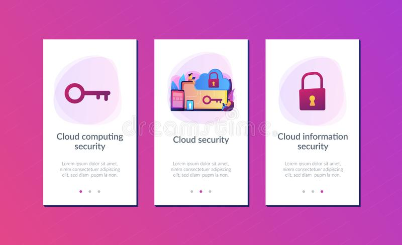 Cloud computing security app interface template. Architect and engineer working on technologies and controls to protect data and applications. Cloud computing vector illustration