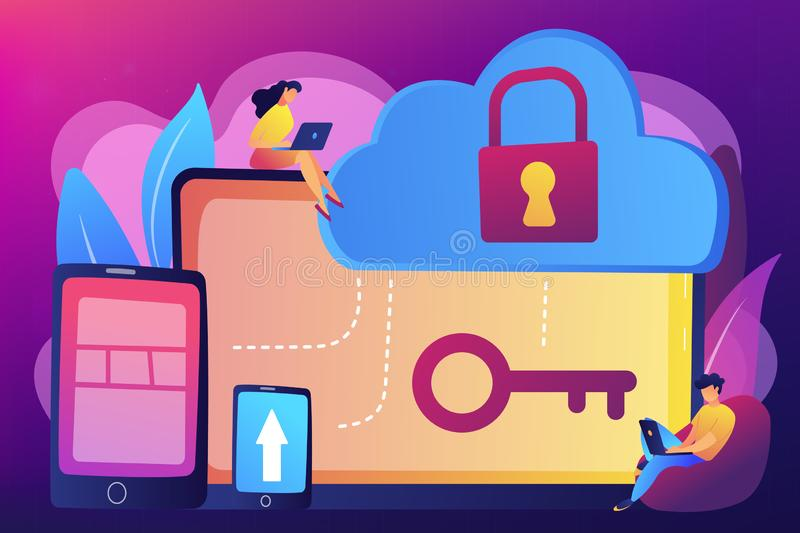 Cloud computing security concept vector illustration. royalty free illustration