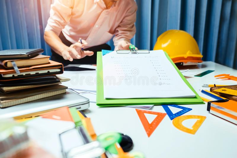 Architect engineering worker working in office. stock photo