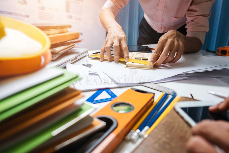 Architect engineering worker working in office. royalty free stock image