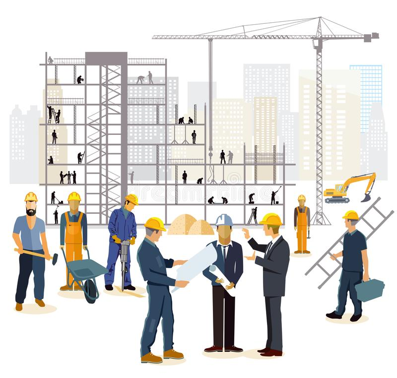 Architect engineers and builders at construction site stock illustration