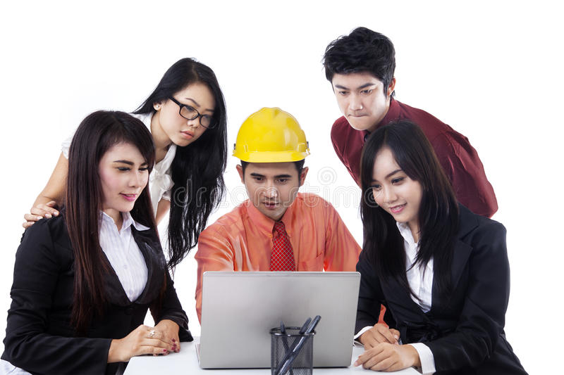 Architect Explains In Business Meeting Stock Images