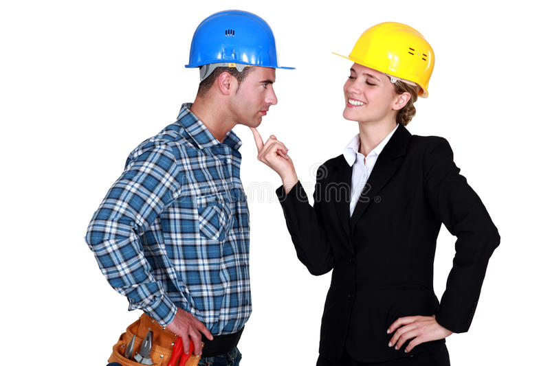 Download Architect Flirting With Builder Stock Image - Image: 29386953