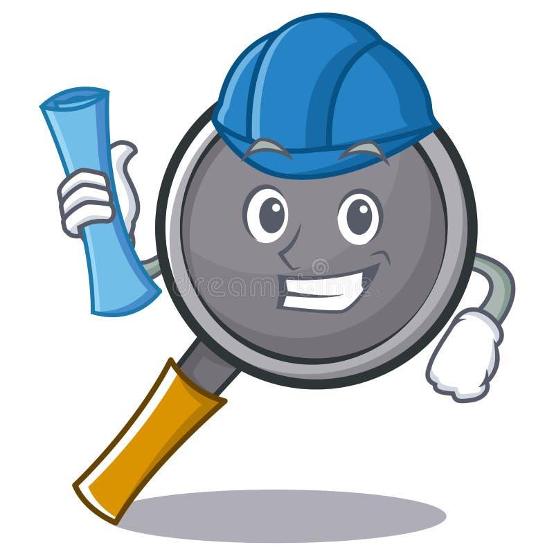Architect frying pan cartoon character. Vector illustration stock illustration