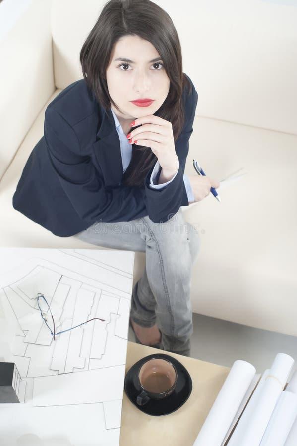 Architect girl working