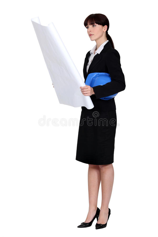 An architect going over plans stock photography