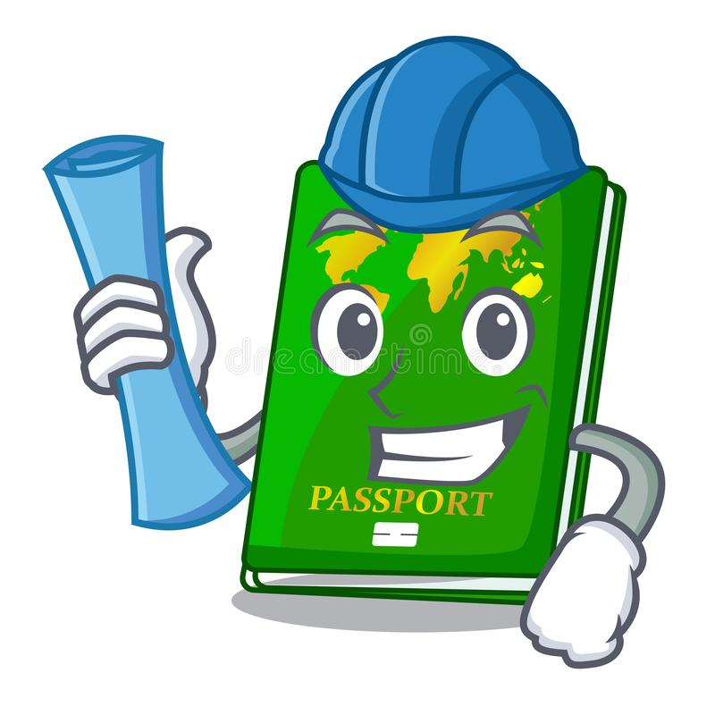 Architect green passport in the cartoon shape. Vector illustration stock illustration