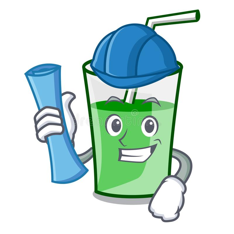 Architect green smoothie character cartoon royalty free illustration