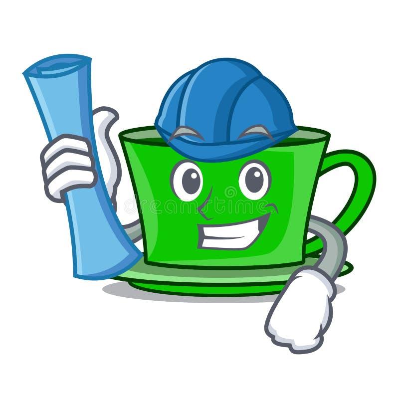 Architect green tea character cartoon stock illustration