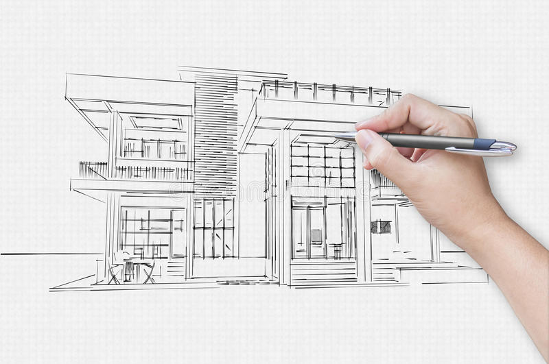 Architect Hand Drawing A House Stock Image - Image of design ...