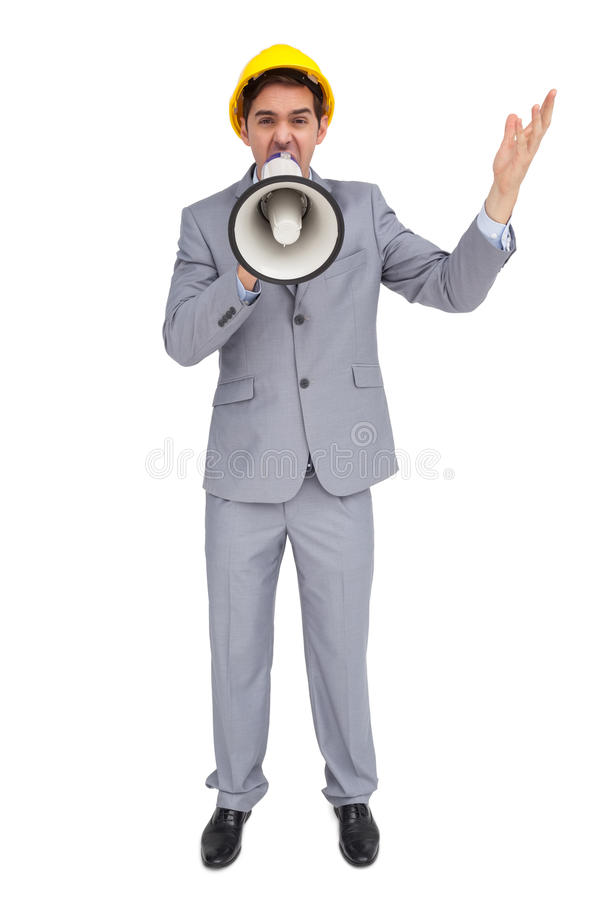 Download Architect With Hard Hat Shouting With A Megaphone Stock Image - Image: 31239485