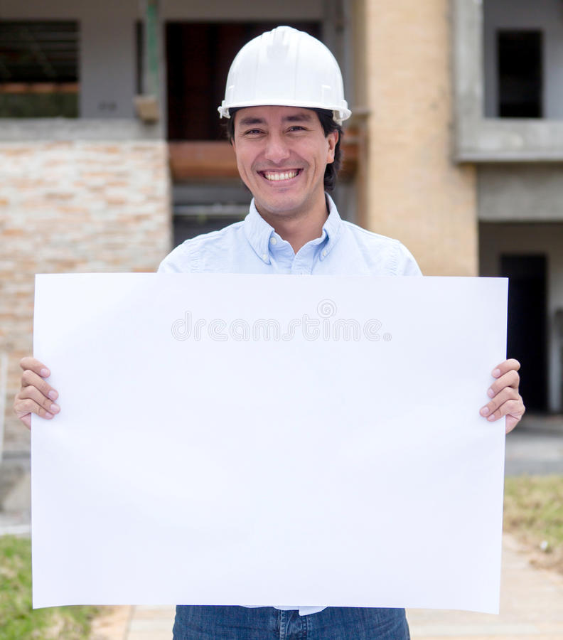 Download Architect holding a banner stock image. Image of design - 26932517
