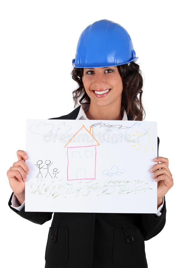 Architect holding a child's drawing stock photos