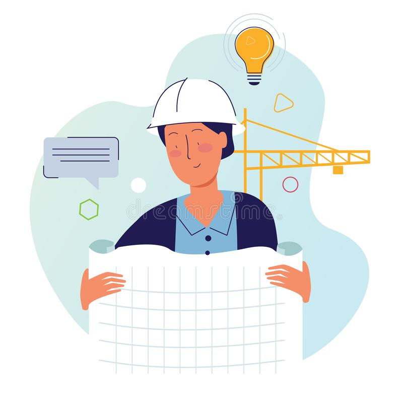 Architect holding drawing paper in construction site with helmet and crane royalty free illustration