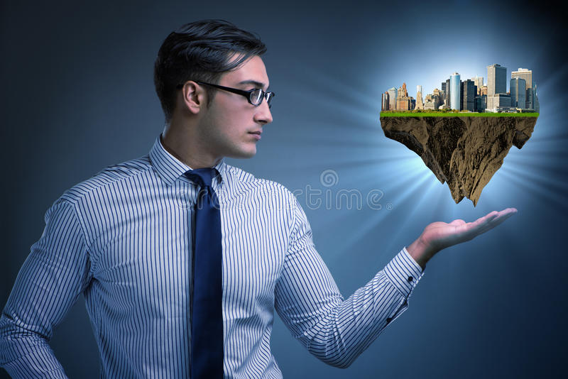The architect holding plan of futuristic city royalty free stock images