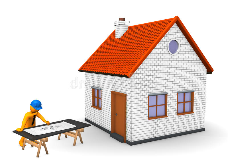 Architect House. Orange cartoon character with blue helmet, house and construction plan. White background royalty free illustration