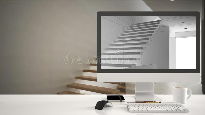 Architect house project concept, desktop computer on white work desk showing CAD sketch, minimalistic wooden stairs interior desig. N in the background royalty free stock photos