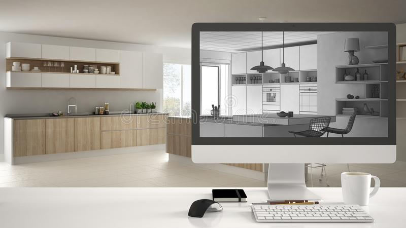 Architect house project concept, desktop computer on white work desk showing CAD sketch, modern wooden kitchen interior design in royalty free stock photo