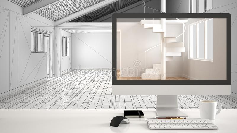 Architect house project concept, desktop computer on white work desk showing minimalistic unfurnished empty space, CAD sketch inte royalty free illustration