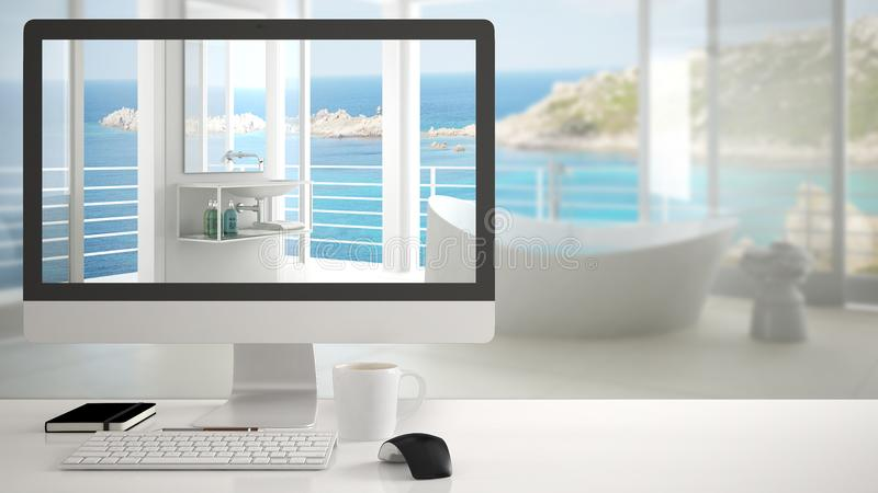 Architect house project concept, desktop computer on white work desk showing modern white bathroom with big panoramic window, mini vector illustration