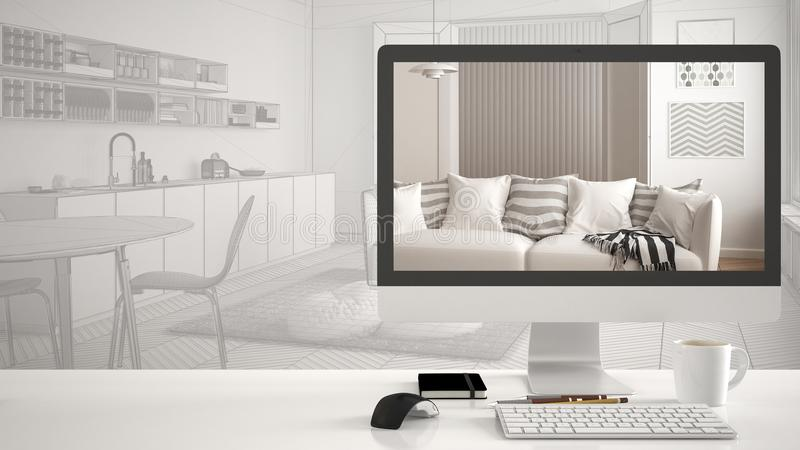 Architect house project concept, desktop computer on white work desk showing modern living room, CAD sketch interior design in the royalty free stock image
