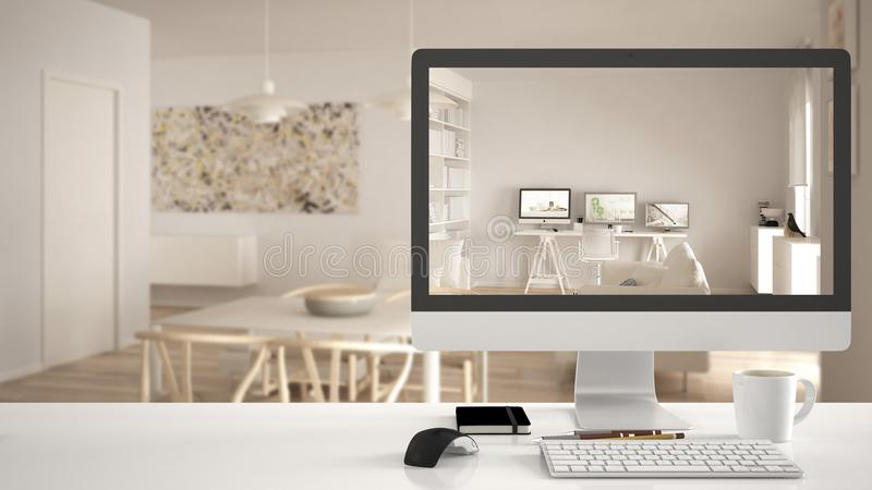 Architect house project concept, desktop computer on white work desk showing modern living room with home workplace, minimalistic stock image