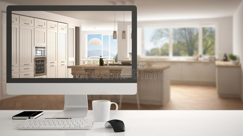 Architect house project concept, desktop computer on white work desk showing white classic wooden kitchen, minimalistic blurred in. Terior design in the royalty free stock image
