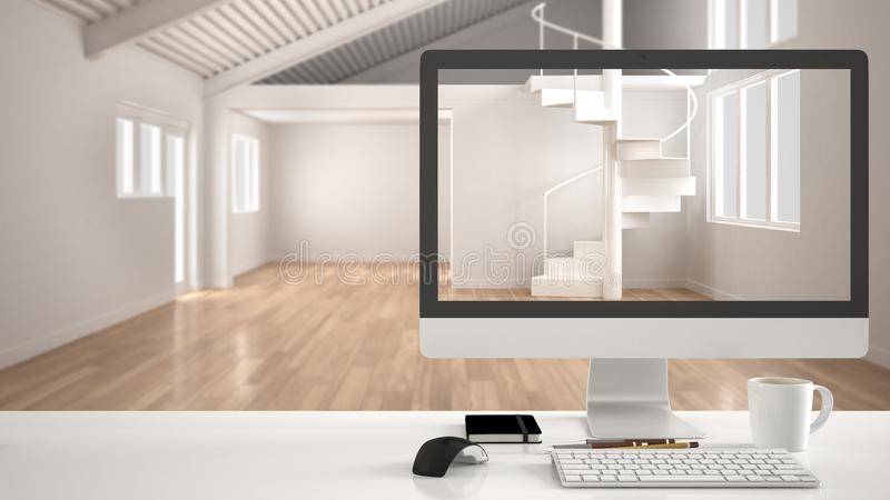 Architect house project concept, desktop computer on white work desk showing white modern empty space, minimalistic blurred interi royalty free illustration