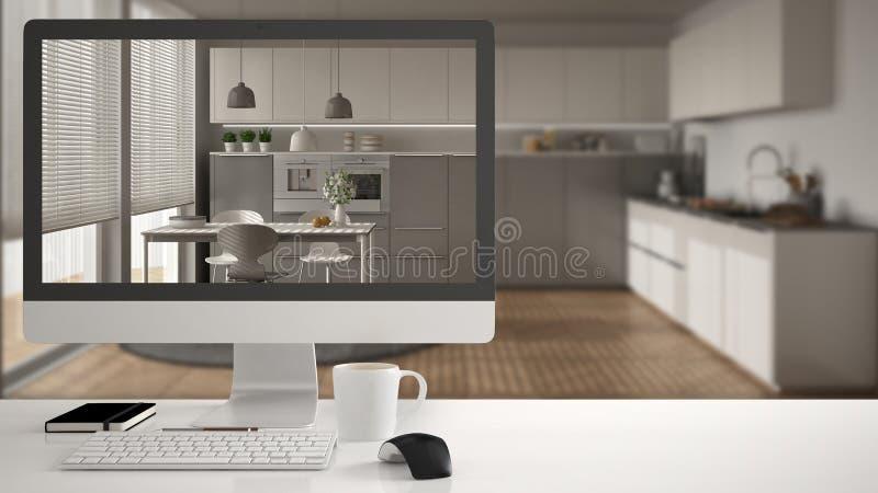 Architect house project concept, desktop computer on white work desk showing white wooden kitchen, minimalistic blurred interior d vector illustration