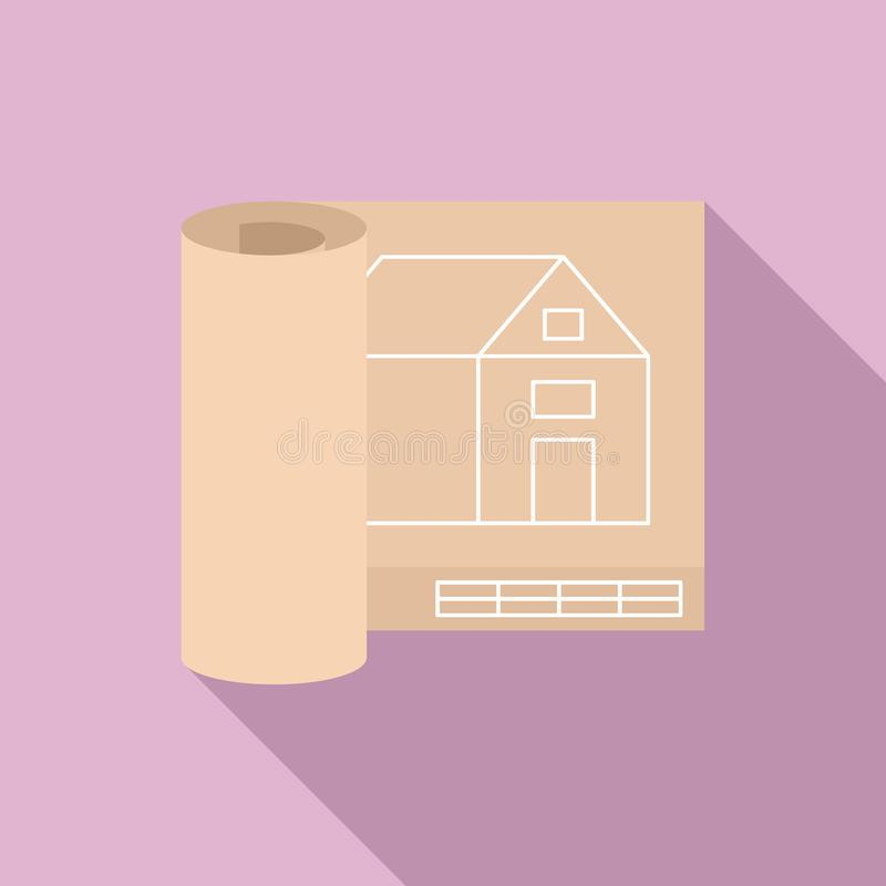 Architect house project icon, flat style stock illustration