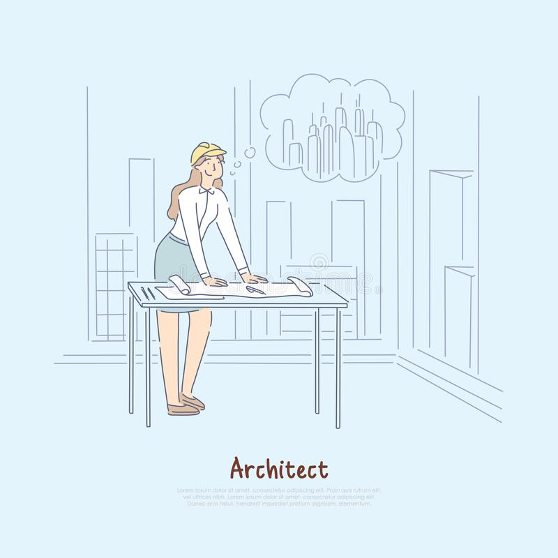 Architect imagining new project, female engineer dreaming about constructing skyscraper in city banner. Young designer creating construction blueprint concept vector illustration