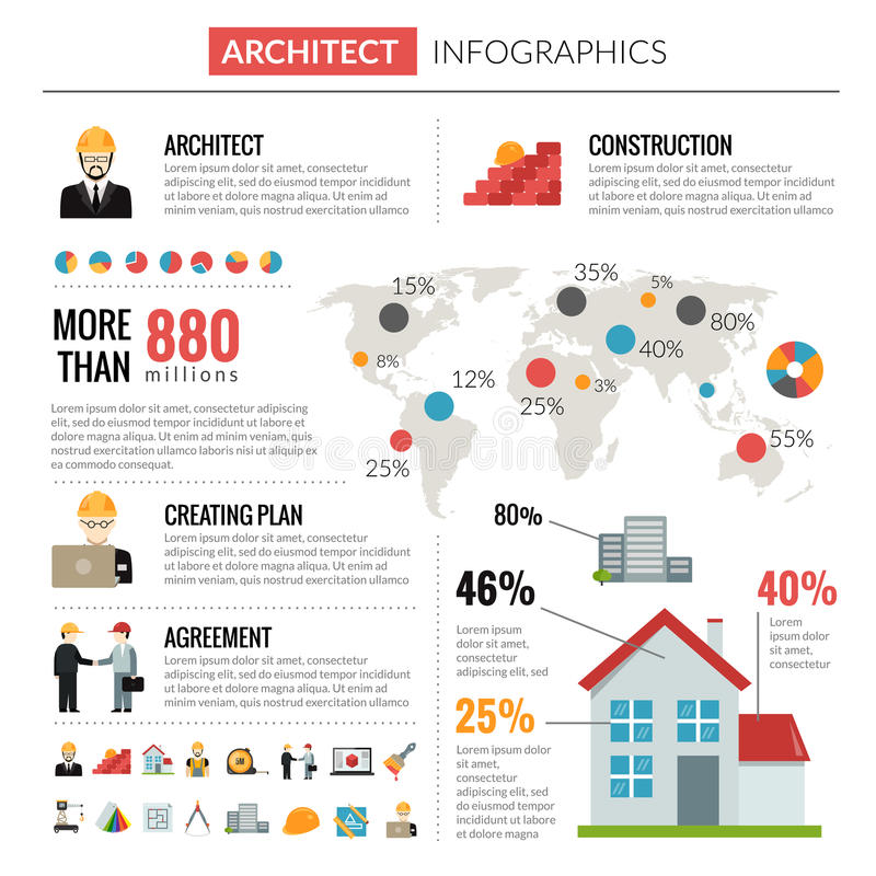 Architect Infographics Set Stock Vector Illustration Of Blueprint